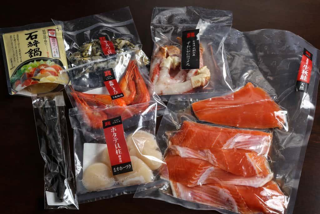 北釧水産の通販石狩鍋セット、お取り寄せ鍋料理、石狩鍋の具材