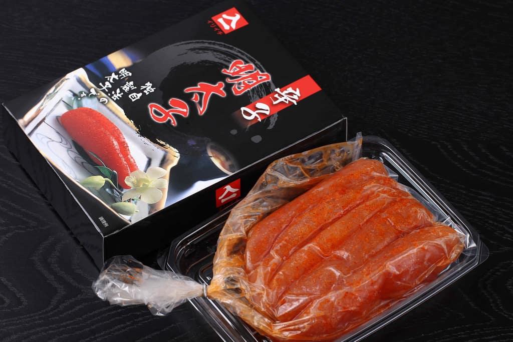 イリイチ食品の熟成辛子明太子のパッケージ、通販で届いた辛子明太子