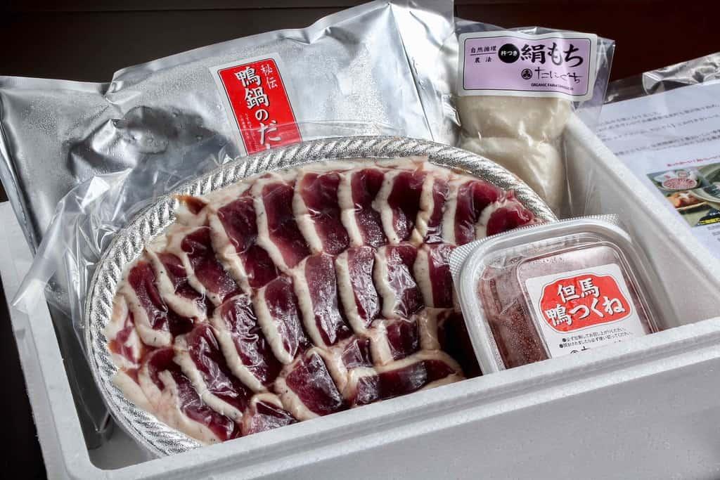 アイガモの谷口の通販・お取り寄せ但馬鴨鍋セット、合鴨肉スライス・但馬鴨肉つくね・餅・鴨鍋つゆ