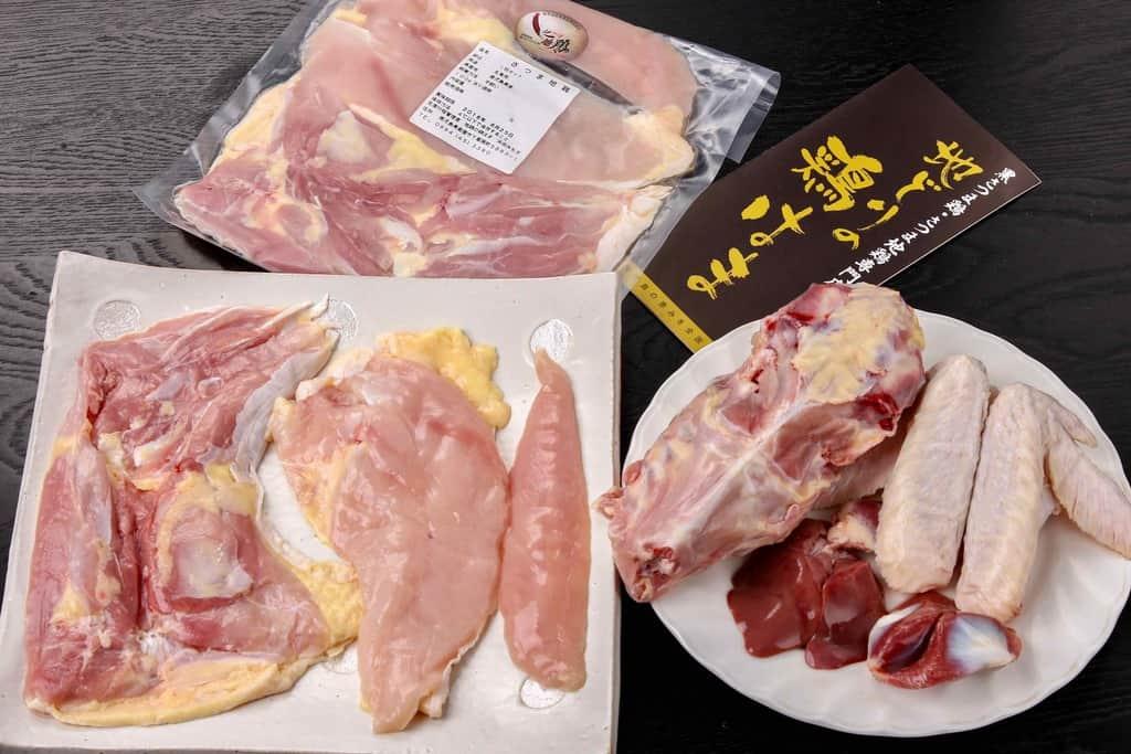 地どりの鶏はまの通販さつま地鶏生肉一羽分セット、さつま地鶏の生肉(モモ肉2枚・ムネ肉2枚・ササミ2本・手羽2本・ガラ・レバー・砂肝)
