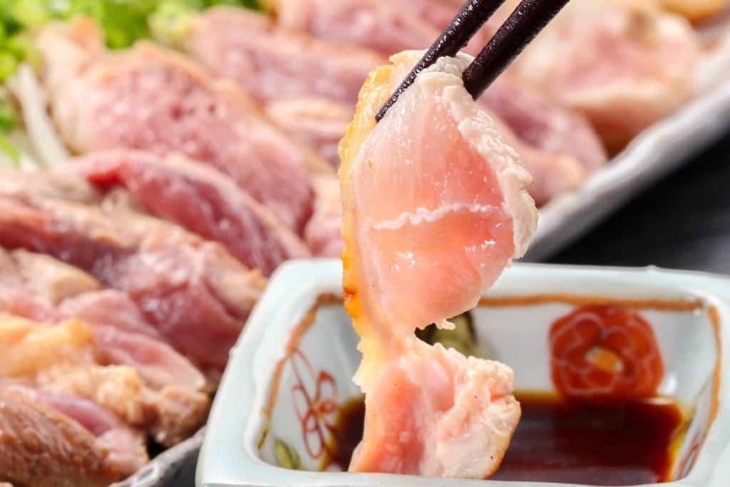 豊のしゃものむね肉のただき、地鶏のタタキ、しゃも肉