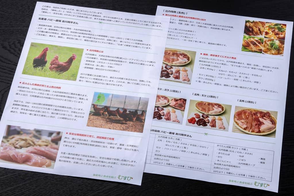 ハピー農場の比内地鶏生肉1羽セットに同梱のリーフレット