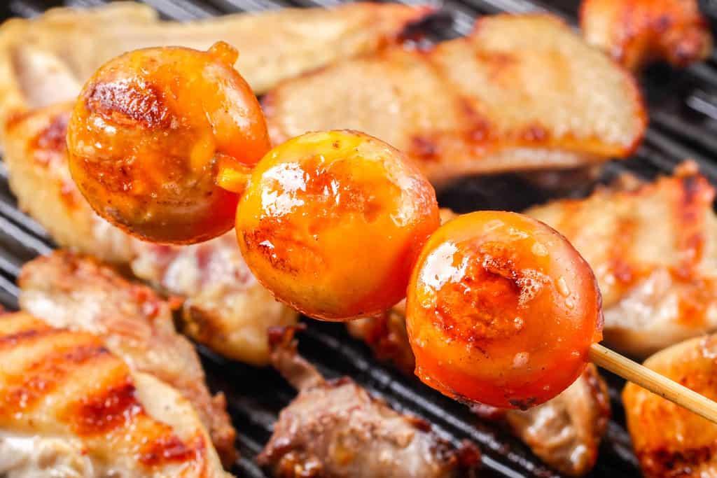 グリルパンで焼いた比内地鶏のきんかん、地鶏キンカンの串焼き