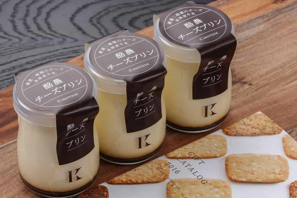 「きのとや」の酪農チーズプリンのパッケージ