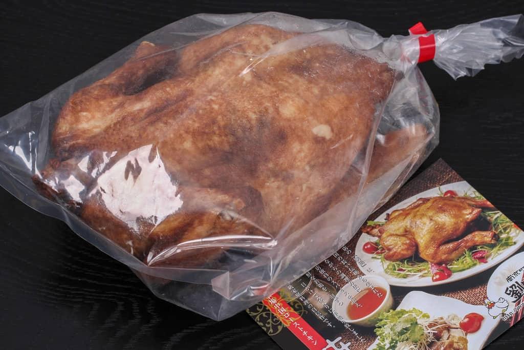 神戸南京町の劉家荘から取り寄せた焼鶏のパッケージとリーフレット