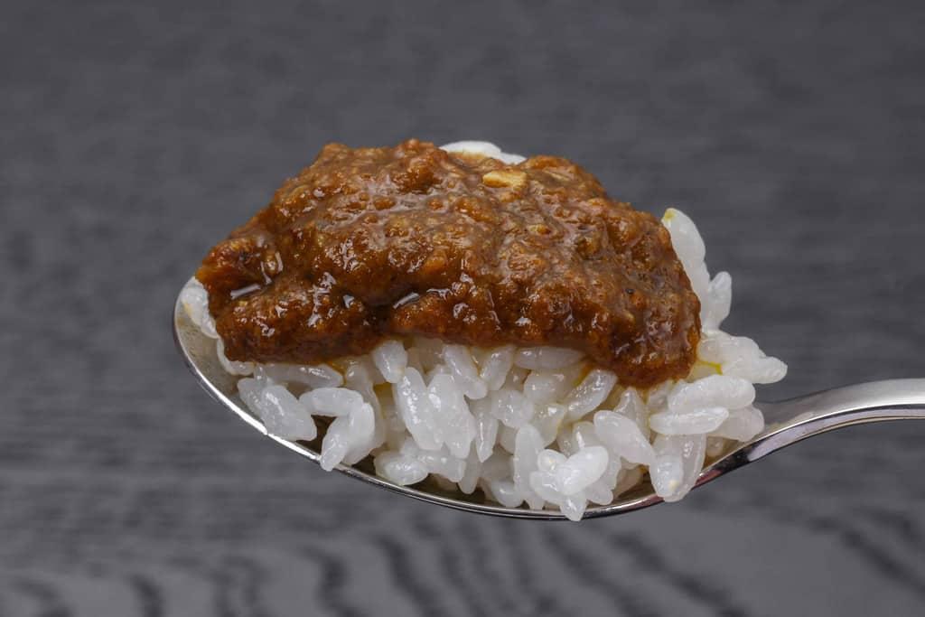 スプーンの上に白いご飯、その上にカレー