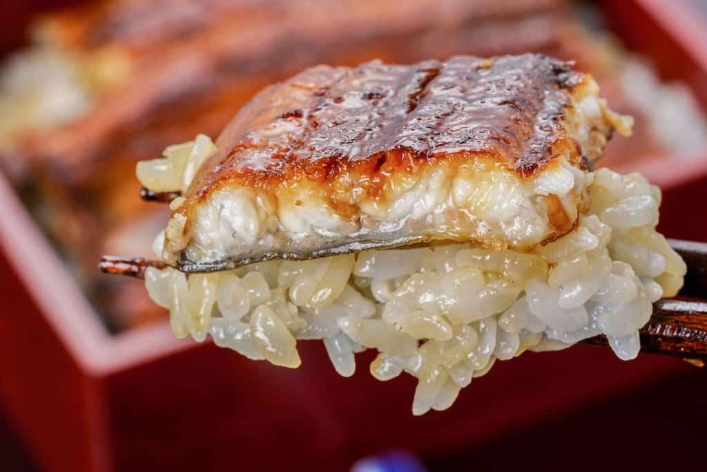 ひと口分のうな重を箸で持つ、箸の上にご飯とうなぎ蒲焼をのせる