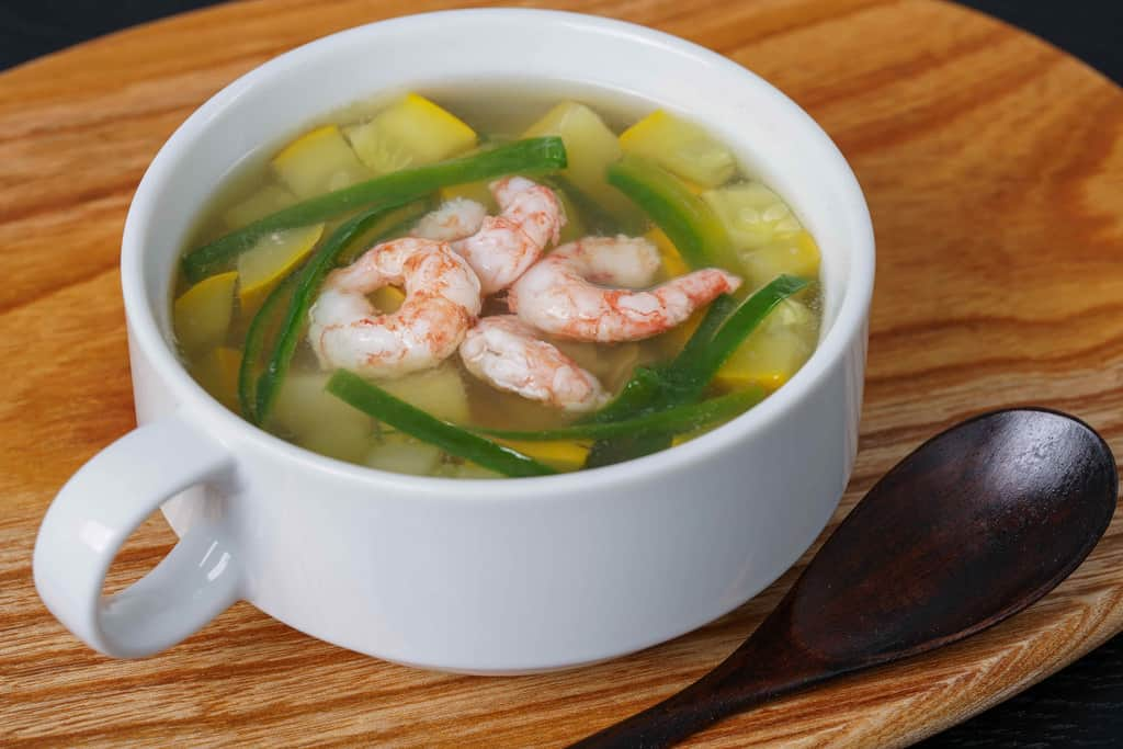甘えびのスープ、甘えび・ピーマン・ズッキーニ・ジャガイモのスープ