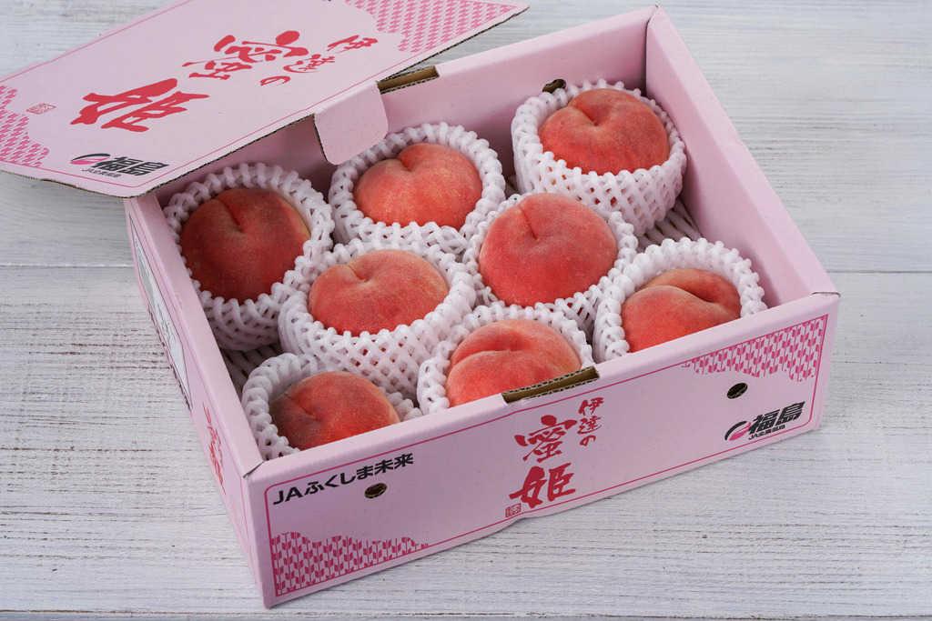 箱に入ったJAふくしま未来の桃「伊達の蜜姫」8玉、通販・お取り寄せフルーツ
