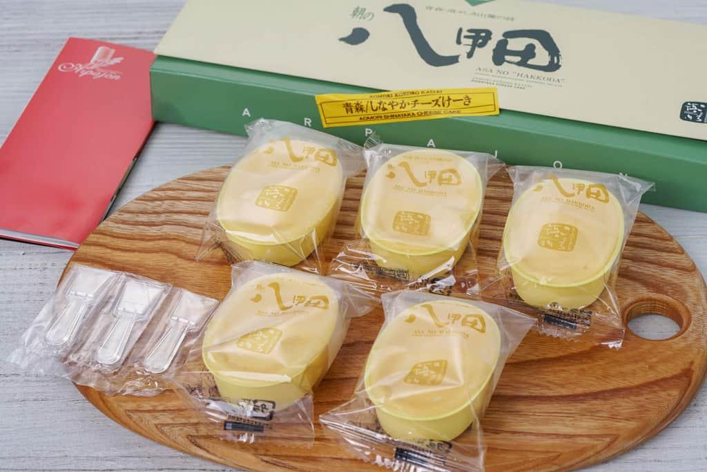 青森県アルパジョンのチーズケーキ「朝の八甲田」5個・パンフレット・スプーン・化粧箱