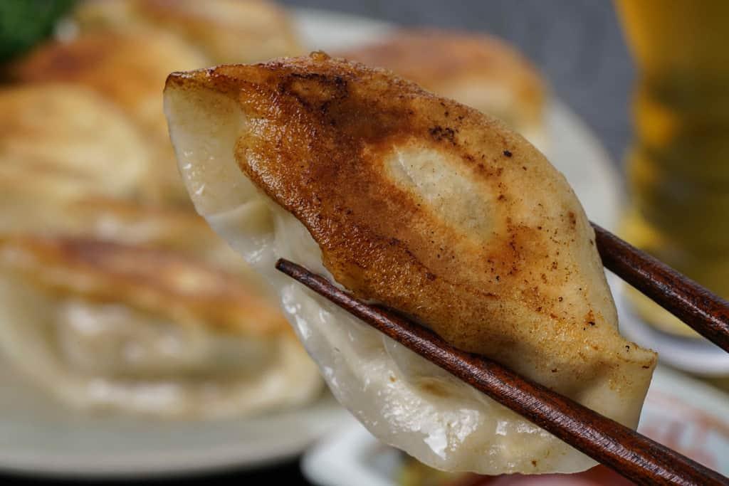 箸でつまんだ蓮月の手づくり焼き餃子1個