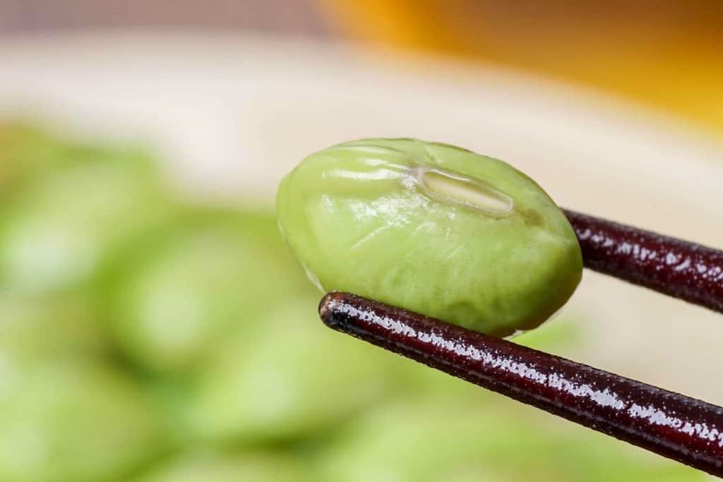 茹でた枝豆(紫ずきん)1粒を箸でつまむ
