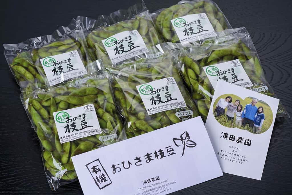 山形県の浦田農園から届いた「有機毛豆枝豆」6袋・リーフレット、通販・お取り寄せ枝豆