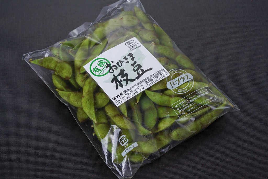 山形県の浦田農園から届いた「有機毛豆枝豆」250g入り1袋、通販・お取り寄せ山形県の枝豆