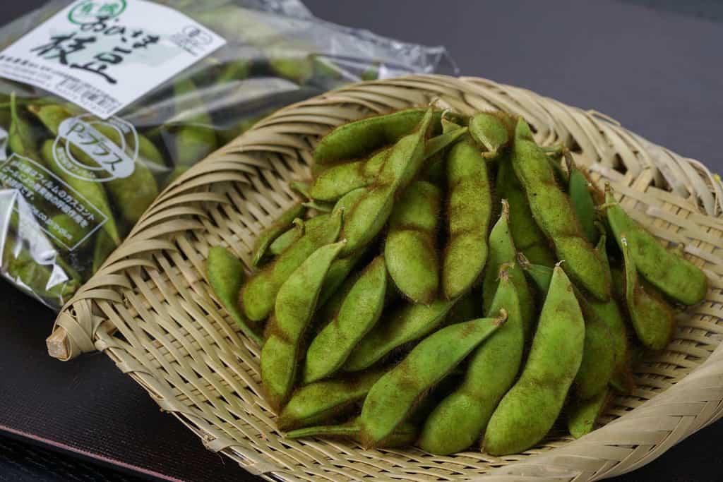 山形県の浦田農園から届いた有機毛豆枝豆1袋250gをザルにあける、ザルに盛られた毛豆枝豆