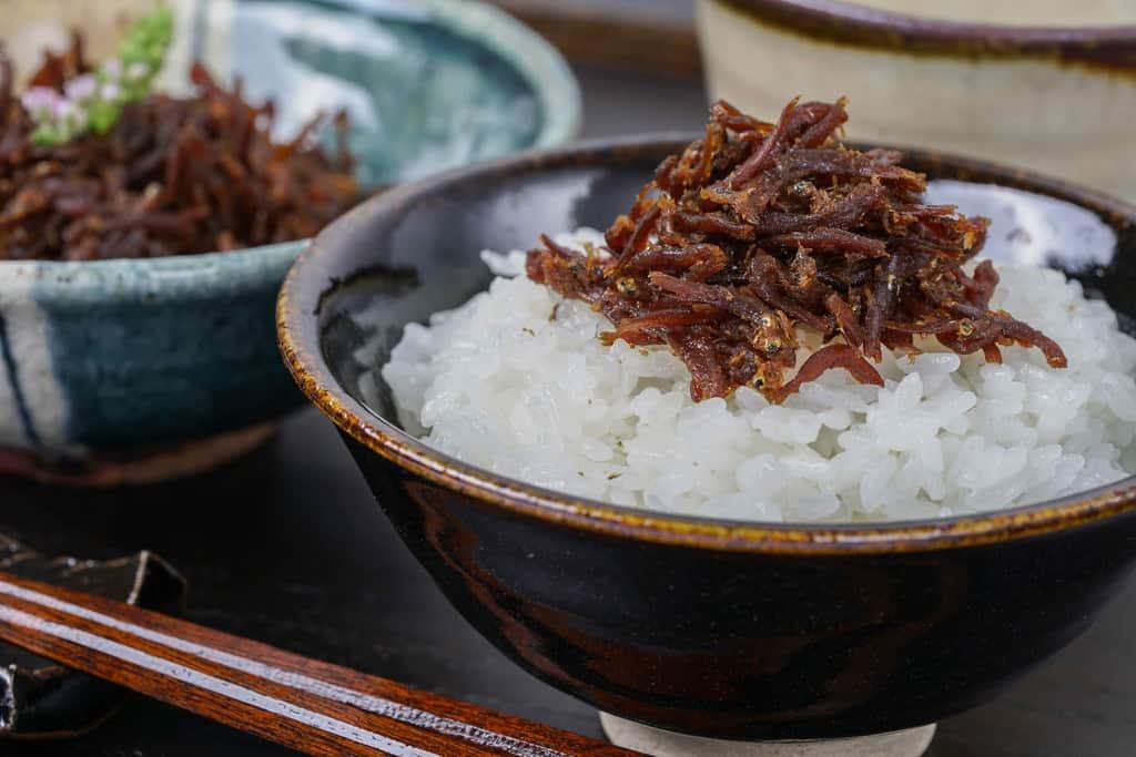 ご飯の上に乗ったちりめん山椒・小鉢に入った神宗のちりめん山椒・箸・湯のみ
