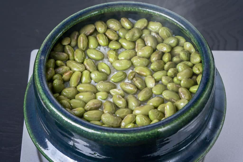 土鍋で炊き上がった瞬間の枝豆ごはん、湯気のでる枝豆ご飯、丹波の黒さや枝豆のご飯