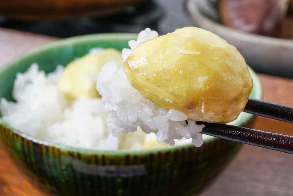 大きな丹波栗が乗ったご飯を箸で持ち上げる