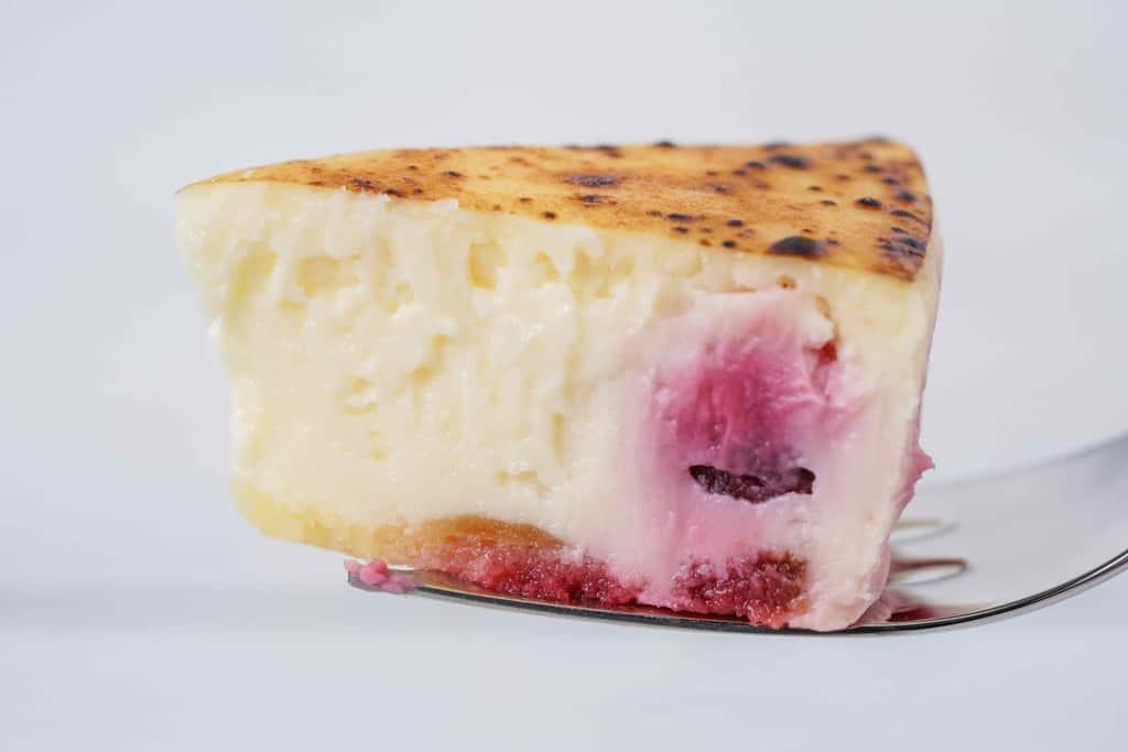 フォークの上に乗った一口大の御献上チーズケーキ、グリオットチェリーが入った御献上チーズケーキをフォークに乗せて