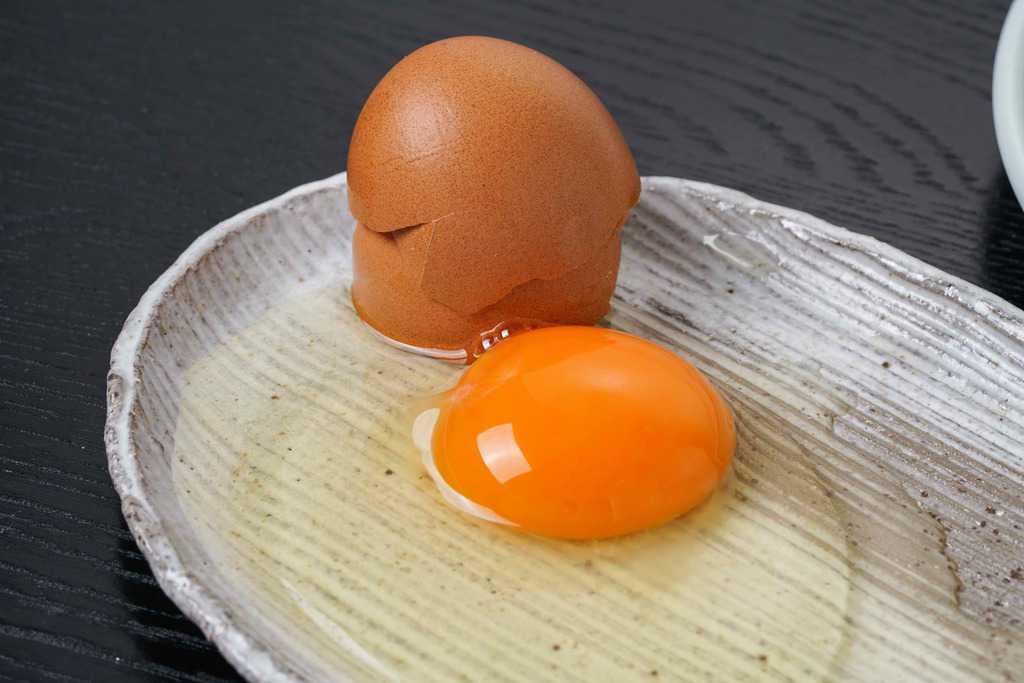 皿の上で割った田子たまご村の平飼い有精卵1個
