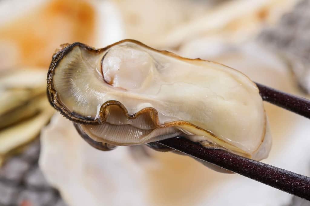 箸で焼きガキをつまむ、焼き牡蠣1個、焼いたカキのむき身
