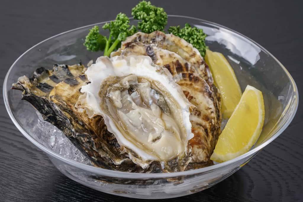 氷を張ったガラスの小鉢にパセリ・カットレモン・殻付牡蠣「カキえもん」3個を盛り付ける、生牡蠣