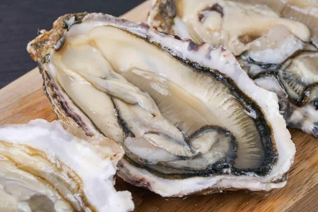 殻をはずして大きな身が見える状態の「カキえもん」、生ガキ、カキを生で食べる