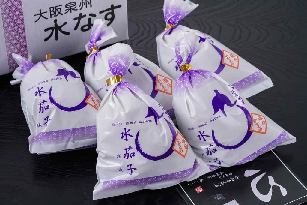 泉州旬菜あかしやの水なす糠漬(水ナス漬)5袋とリーフレット