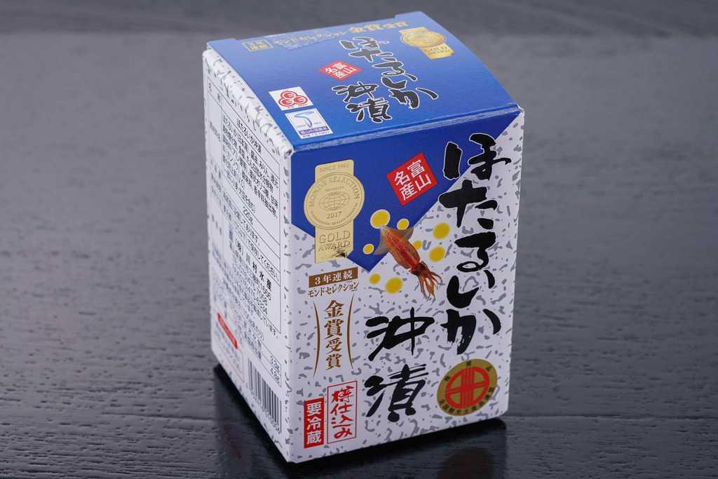 富山県の川村水産からお取り寄せしたほたるいか沖漬220gのパッケージ、通販ホタルイカ沖漬け