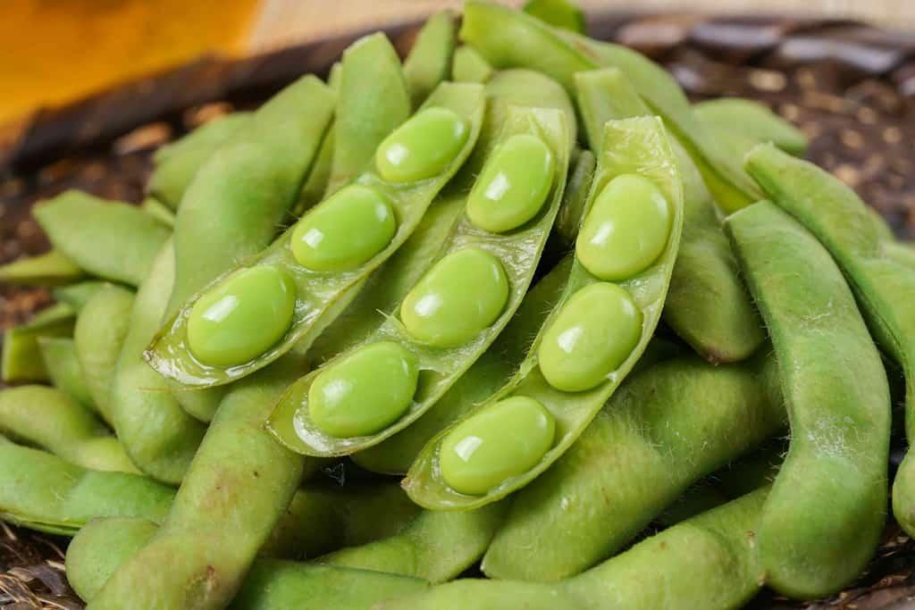 山盛りのゆで枝豆とビール、さやをはずして中の豆が見える状態の枝豆