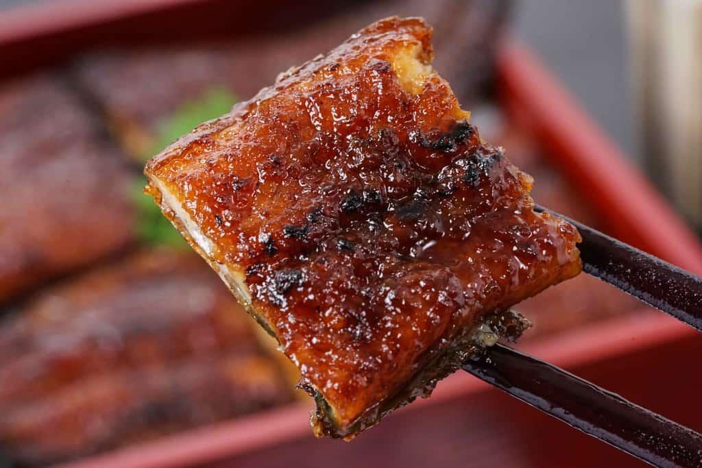 箸でつまんだうなぎの兼光の炭火手焼きうなぎの蒲焼ひと切れ