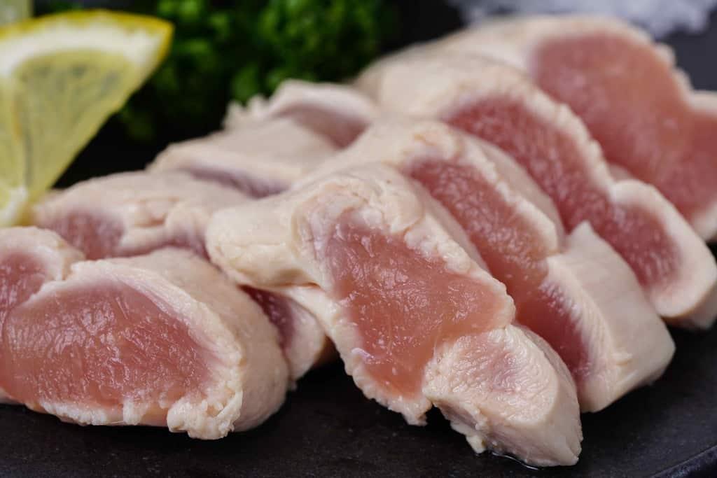 川俣しゃものささみポン酢、軍鶏ささみ肉のポン酢和え
