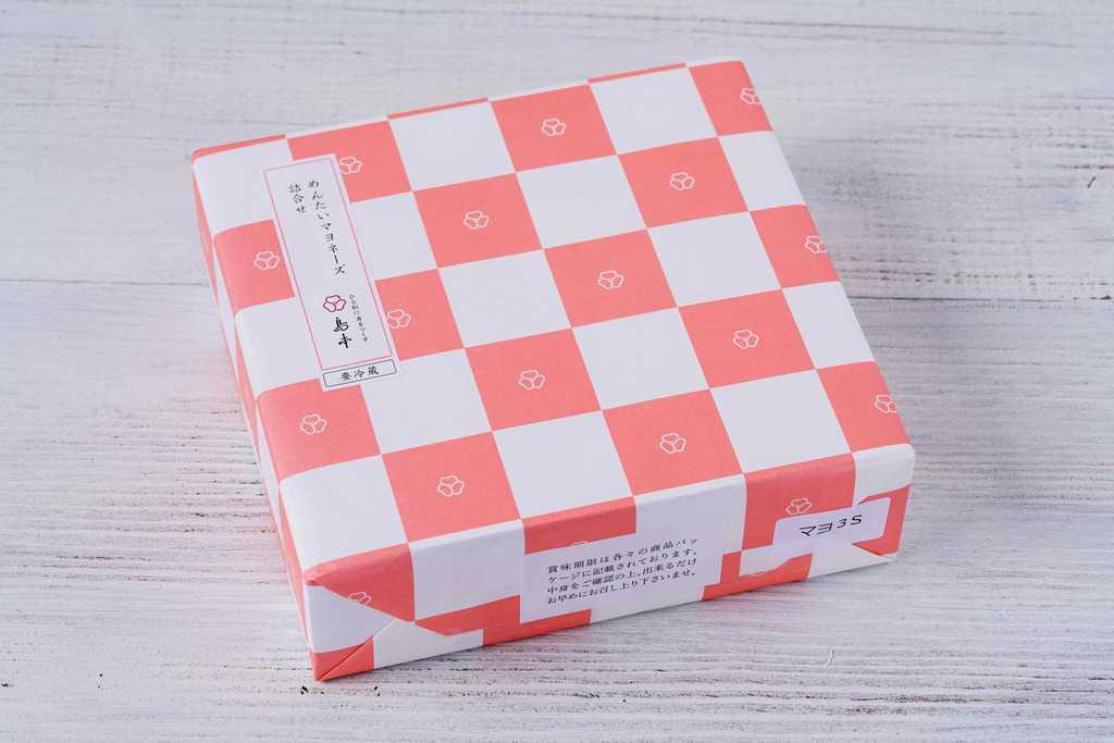 島本食品のマヨぷちギフト3種詰合せのギフト箱、お通販めんたいマヨネーズ