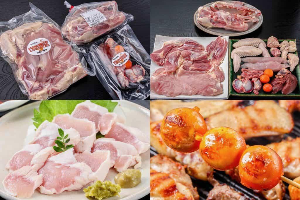 秋田県ハピー農場の比内地鶏1羽の生肉、通販・お取り寄せ比内地鶏、日本三大地鶏、比内地鶏の鳥わさ、比内地鶏のきんかん焼き