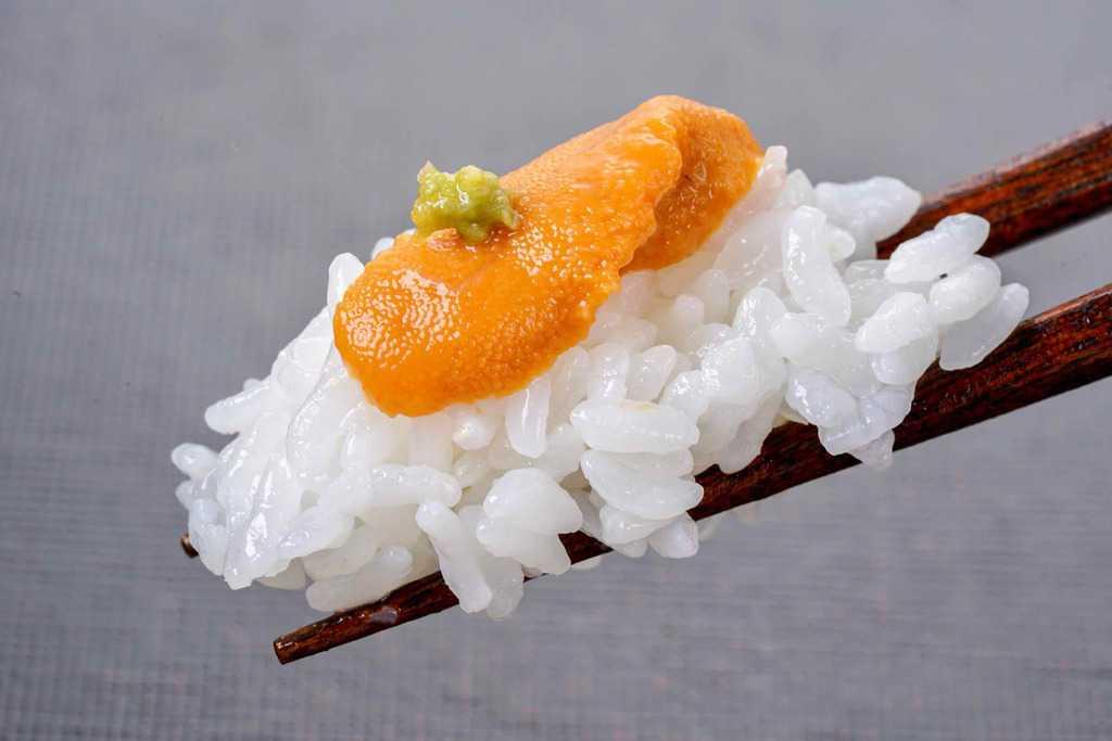 生うに丼を箸でつまむ、箸・白飯・生エゾバフンウニ
