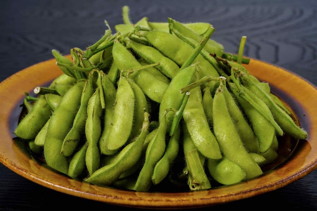 神奈川県三浦半島「はねっ娘会」の枝付き枝豆、生の枝豆