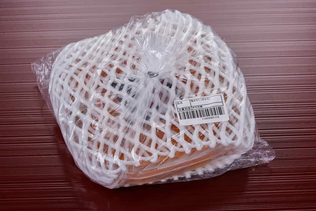 北釧水産の通販・お取り寄せ「利尻産えぞばふんうに(無添加塩水パック)100g」の梱包状態