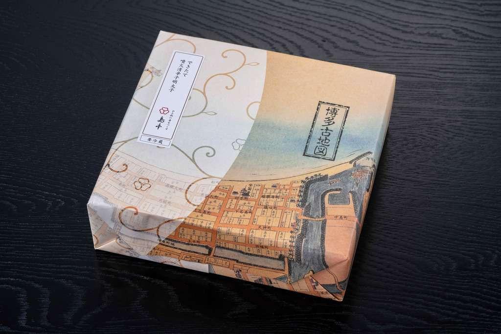 島本食品の「北海道噴火湾できたて辛子明太子320g」のパッケージ、お取り寄せ博多辛子明太子