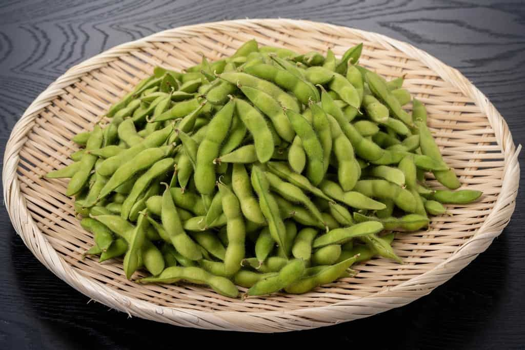 完熟八尾えだまめ、竹ざるに山盛りの枝豆