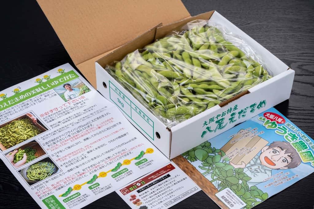 通販・お取り寄せ枝豆、完熟八尾えだまめ1kg・パンフレット・リーフレット
