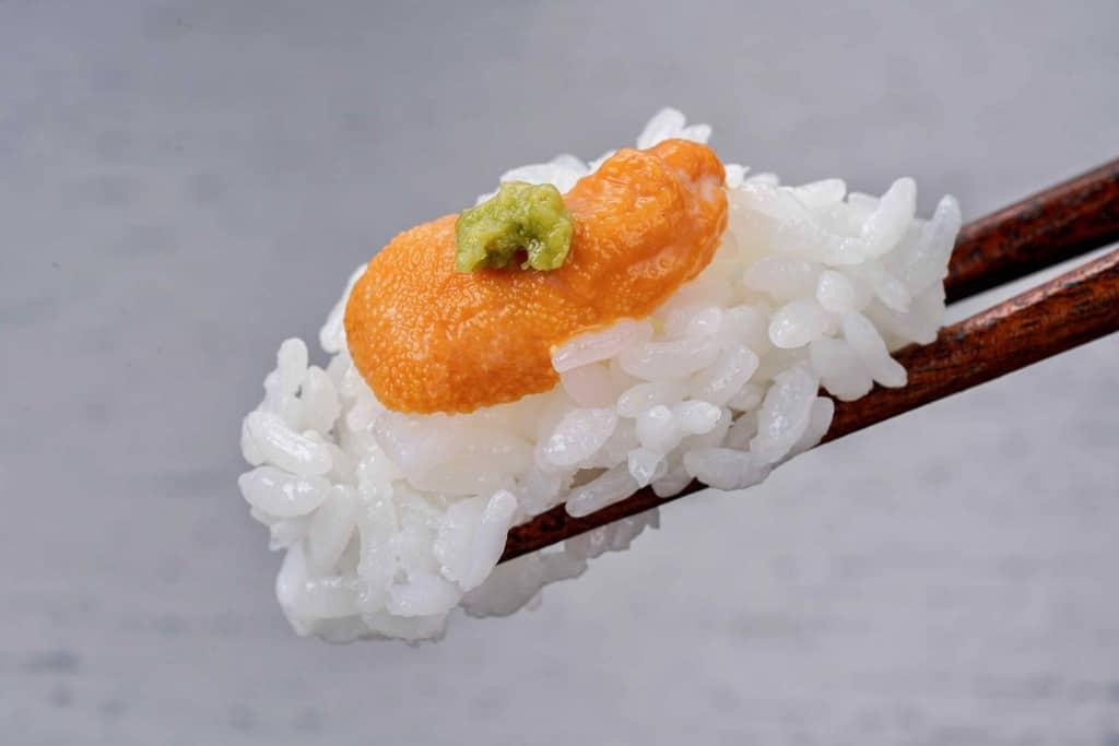 生うに丼を箸でつまむ、ご飯・礼文島産エゾバフン生ウニ・わさび