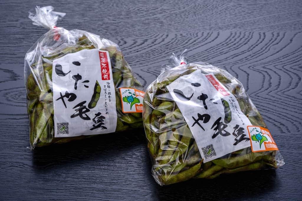 青森県津軽地方の在来種の枝豆「毛豆」が入った袋、いたや毛豆、通販・お取り寄せ枝豆