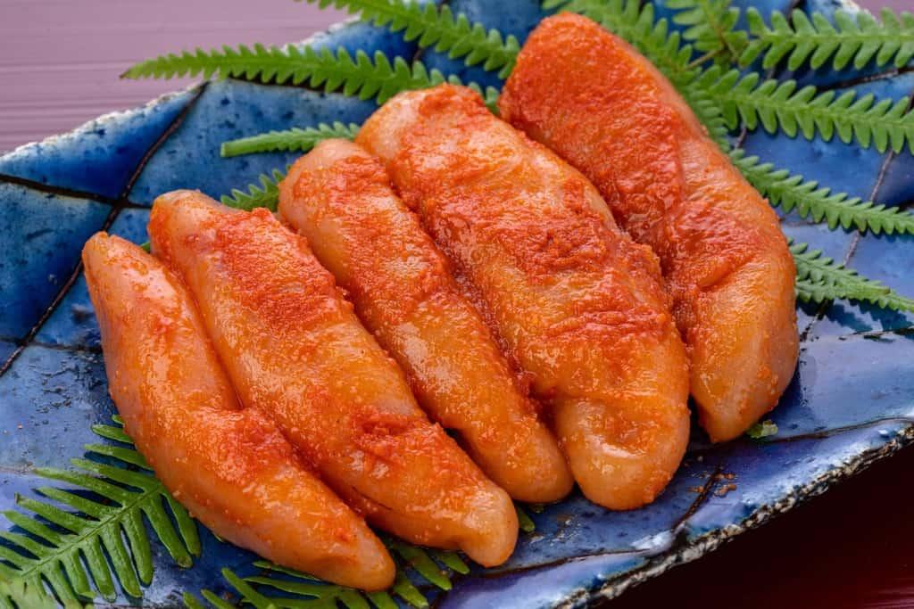 皿の上の味の明太子、博多辛子明太子5本