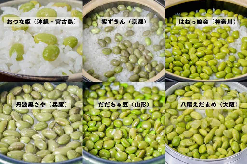 6種類の枝豆ご飯の比較画像、枝豆おつな姫・紫ずきん・はねっ娘会・丹波の黒さや・だだちゃ豆・八尾えだまめの御飯