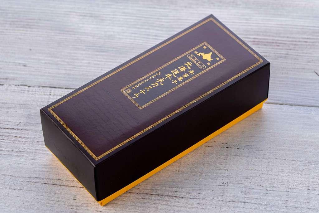 北海道牛乳カステラの化粧箱、通販・お取り寄せカステラ、北海道土産